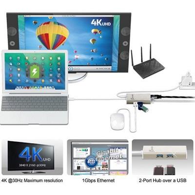 j5create USB Type-C Multi-Adapter HDMI/Ethernet/USB 3 0 HUB/PD 2 0 (JCA374)