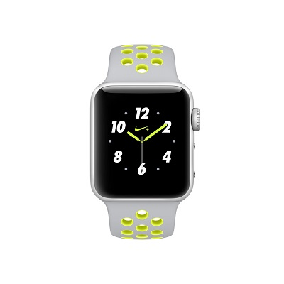 apple nike watch series 2. apple watch series 2 nike+ 38mm silver aluminium case with silver/volt nike sport band