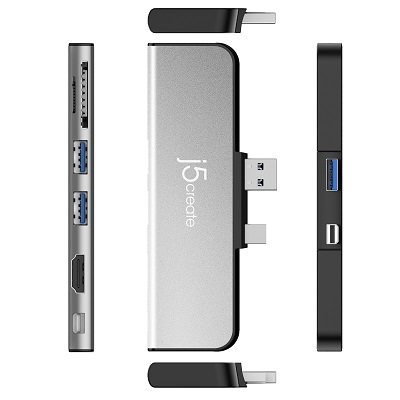 J5Create JDD320S UltraDrive Mini Dock for Surface Pro 4/5/6 (Silver)