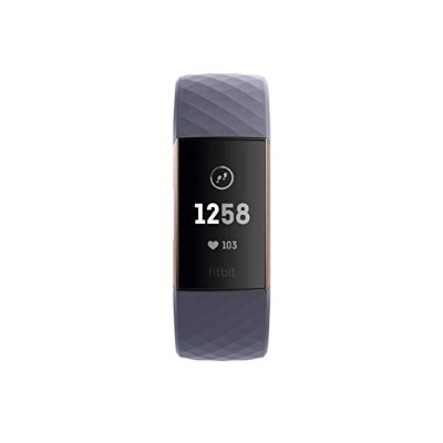 Fitbit Charge 3 Fitness Tracker (Rose Gold, Blue Grey - S & L Size Band  Included)