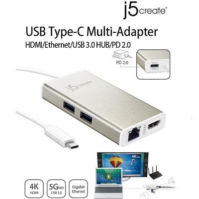 J5Create JCA374 USB 3.0 Type-C 5Gbps Multi Adapter Hub BRAND NEW