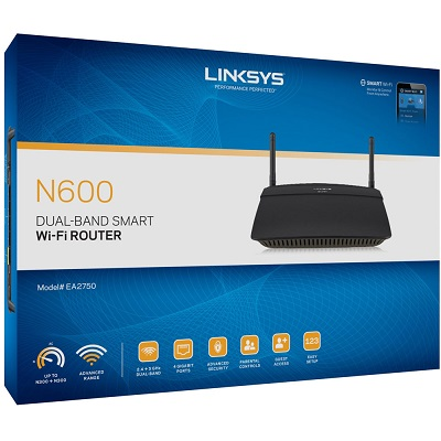 LINKSYS N600 Dual-Band Smart WiFi Wireless Router (EA2750)