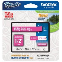 Brother Ptouch White on Berry Pink Tape 12mm x 5m (TZeMQP35)