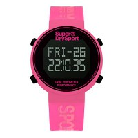 Superdry SYL203P Digi Pedometer Watch (Pink/Silver)