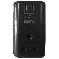 ELPA USB Charger & Adaptor 3.1A (SAU-BS01) Black