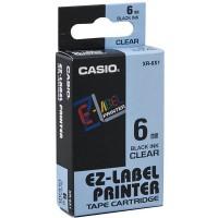 Casio XR-6X Tape (Black on Transparent)