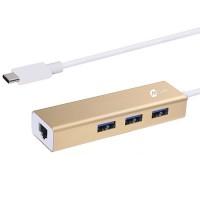 Mazer Hub + Lan Adapter (USB-C-USB3.0X3)