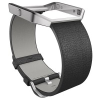 fitbit blaze LUXE Accessory Band (Black Leather) Size L