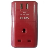 ELPA USB Charger & Adaptor 3.1A (SAU-BS01) Red