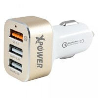 XPower High Speed Car Charger with USB Port (Gold)