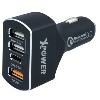 XPower 4 Port USB [Type-C+QC3.0] Car Charger (Black)
