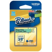 Brother Ptouch Black on Green Tape 9mm x 8m (M-721)