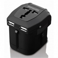 Lifetrons Travel Adapter with 2 USB Ports  (FG-2103NPD-BK)
