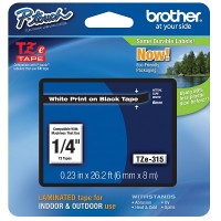 Brother Ptouch White on Black Tape 6mm x 8m (TZe-315)