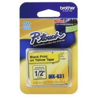 Brother Ptouch Black on Yellow Tape 12mm x 8m (MK-631)