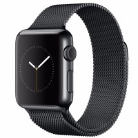 Apple Watch 38mm (Black Stainless Steel Case with Black Milanese Loop Band)