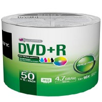 Sony 50 Pack DVD+R Recordable Printable Bulk Package