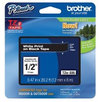 Brother Ptouch White on Black Tape 12mm x 8m (TZe-335)