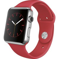 Apple Watch 42mm (Stainless Steel Case with Red Sport Band) (Silver)