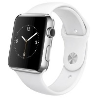 Apple Watch 42mm (Stainless Steel Case with White Sport Band)