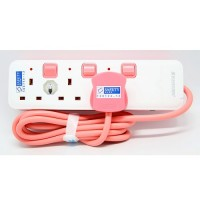 SoundTeoh PS-513B Pink Extension Socket with Circuit Breaker (2M)