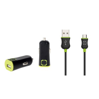 Walnut DE Car Charger Kit (Black+Green) (WAL-K2008)