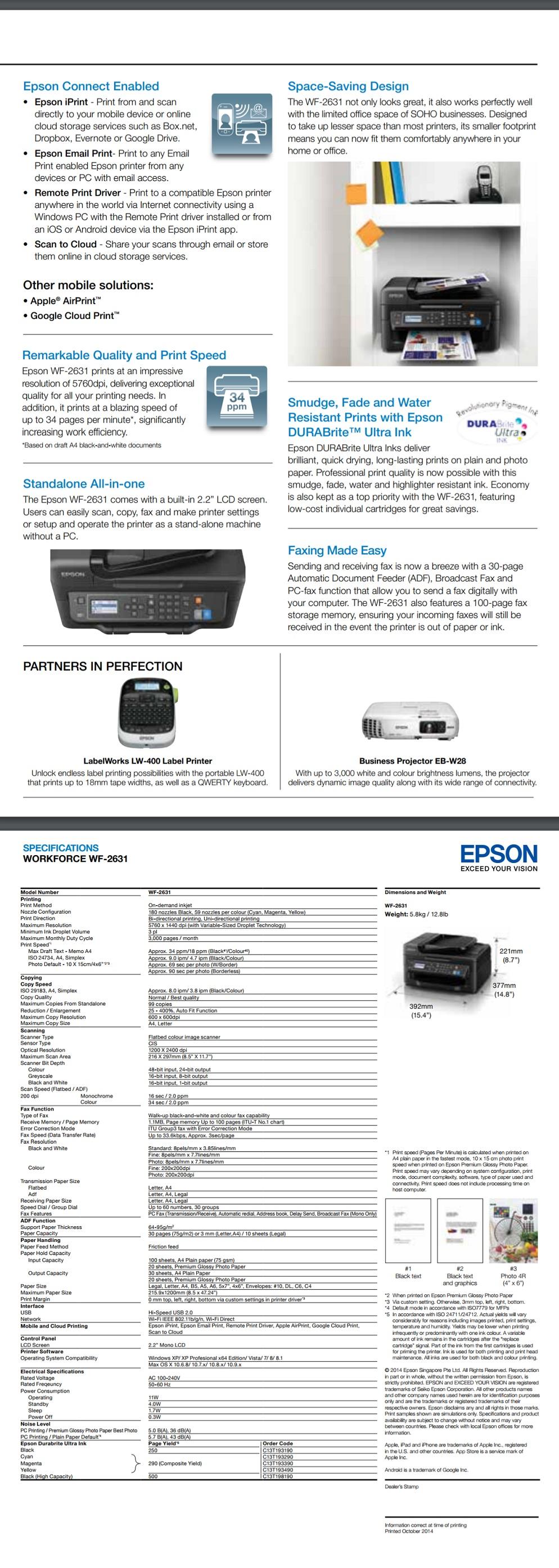 Epson WorkForce WF-2631 A4 Multi-Function Inkjet Printer for Home Office