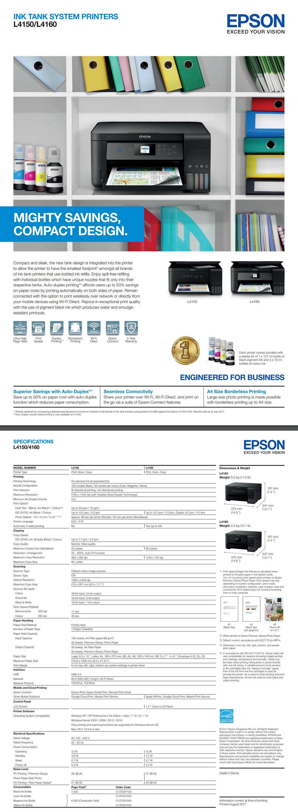 Epson EcoTank L4160 Ink Tank Printer A4 Multi-Function Colour Inkjet for  Students/Home/Everyday Printing