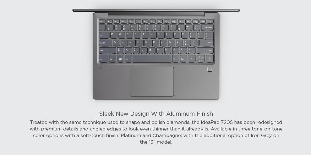 Lenovo IdeaPad 720S [Gold] [Intel i7, 8GB RAM, 256GB SSD, NVIDIA GEFORCE MX150 2G DDR5 Graphics]