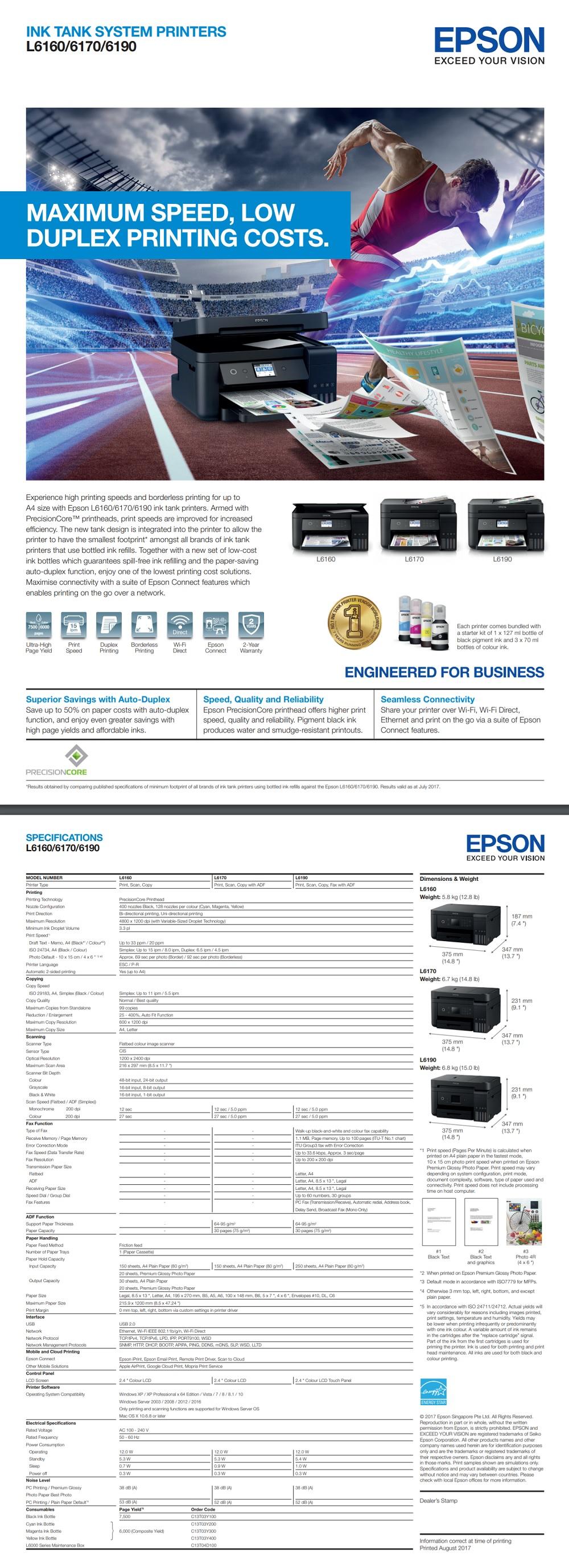 Epson EcoTank L6170 Ink Tank Printer A4 Multi-Function Colour Inkjet for  Office